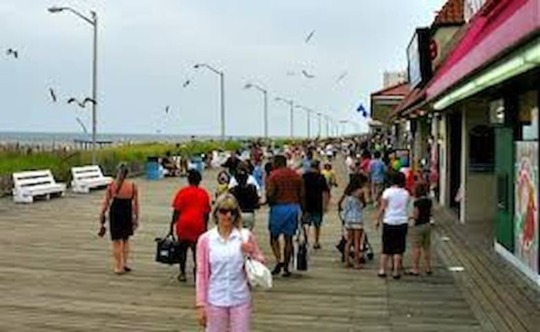 View from board walk within one block