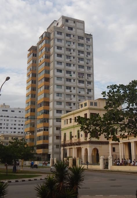 The tall building is called the Terry Building, it is is Vedado on Paseo Avenue between 5ta and Calzada. Apartment 3B