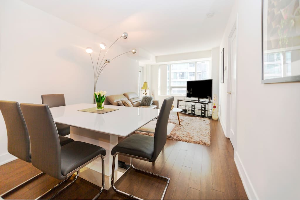 your living room with dining table