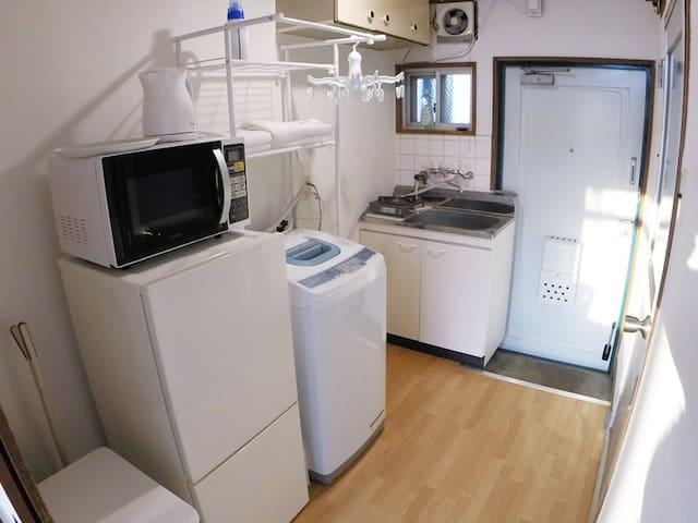 Refrigerator, Washing machine,microwave, kettle.