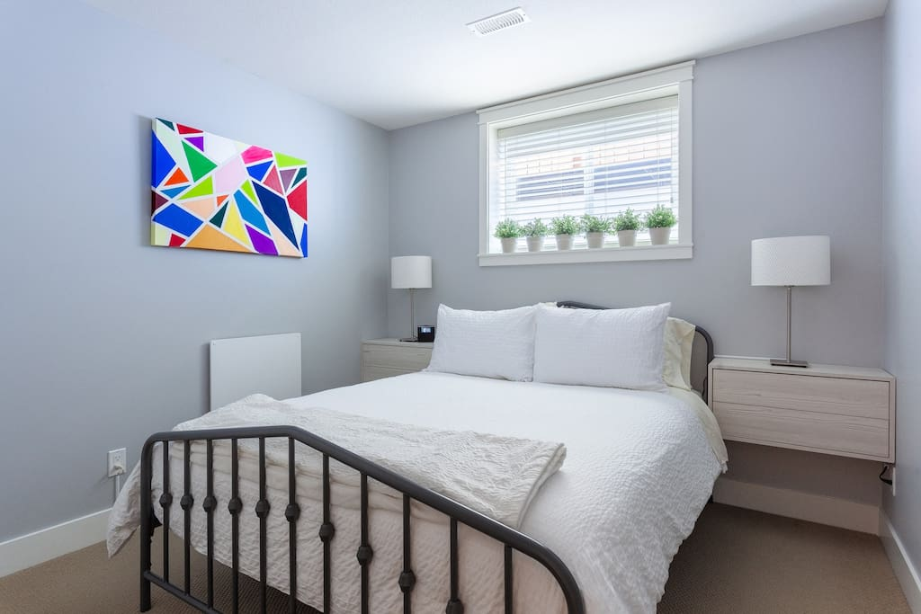 Bedroom #1 has a comfortable queen sized bed made with super soft bedding to ensure a great nights sleep. We also have black out curtains installed for those sleepers that require extreme darkness.