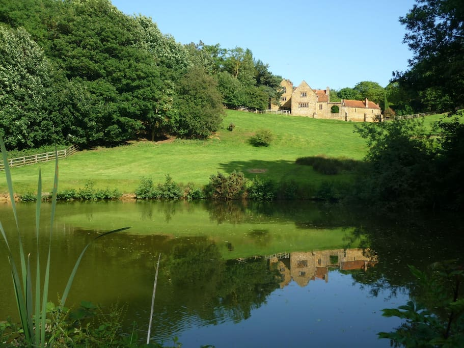 Cottages reflected in the pond