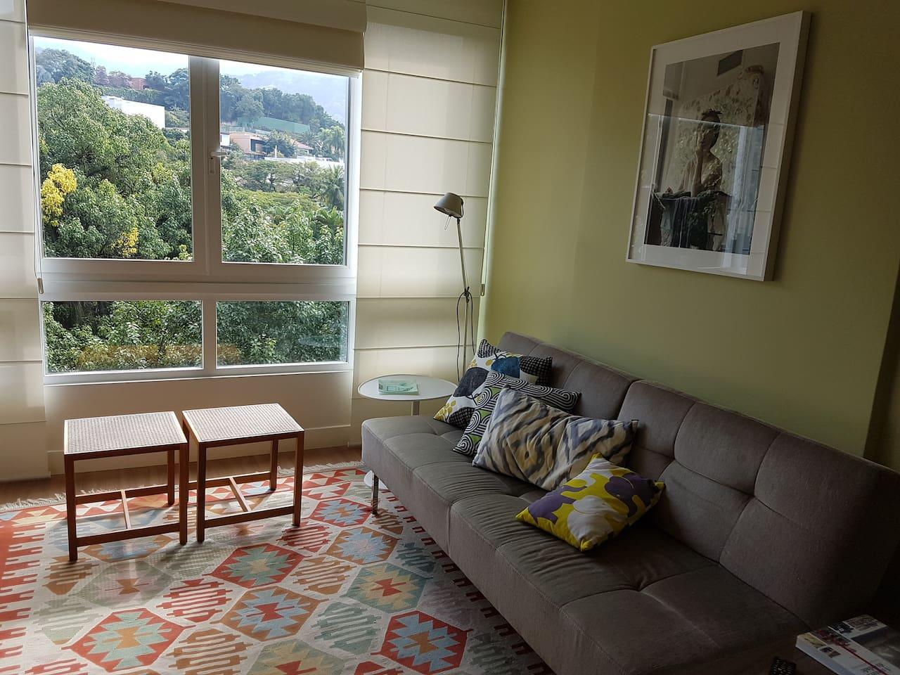 sala com vista para o verde/ living room facing a green view