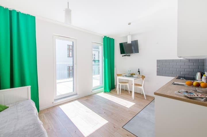 Atrakcyjny Green Apartment w Centrum dla dwojga.