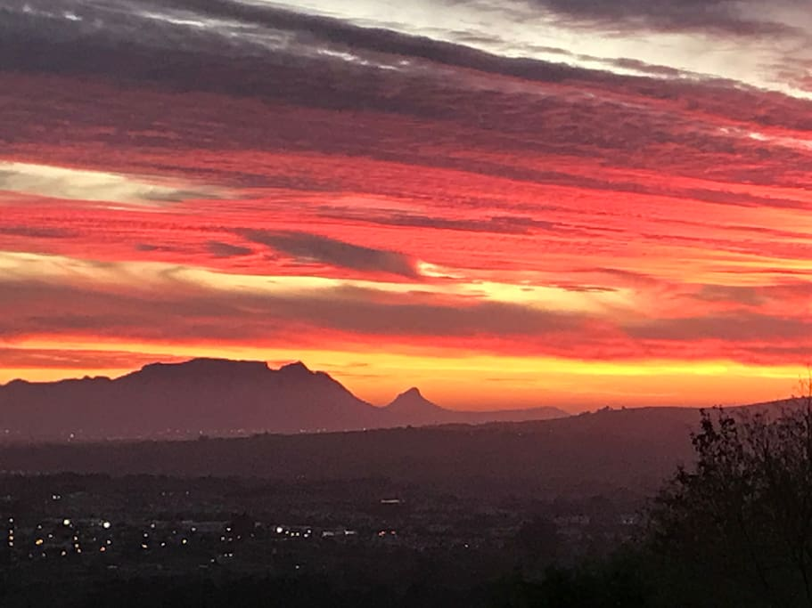 Sunset looking onto Table Mountain