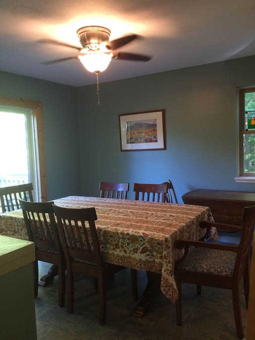 The dining room is comfortable and spacious.