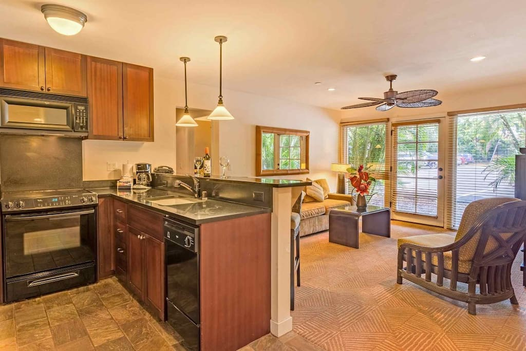 Spacious kitchen and living area.