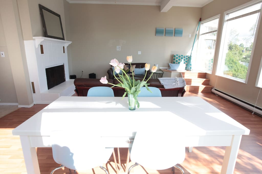Dining room & living room.