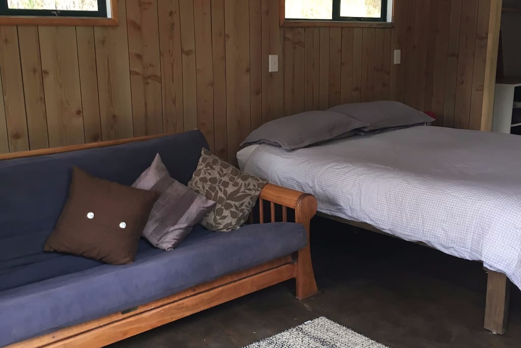 Queen bed and double futon