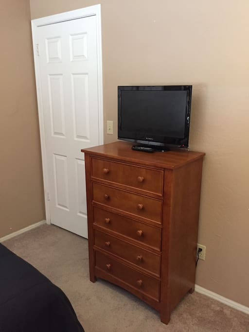 5 drawer dresser with small flat screen TV & built-in DVD player