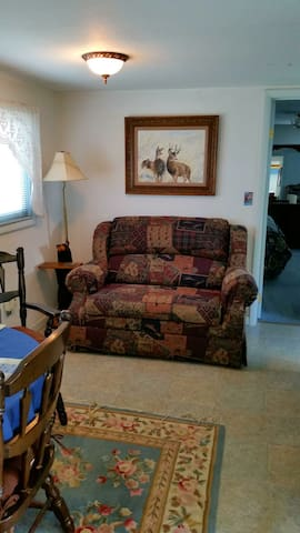Comfy couch converts to twin bed.