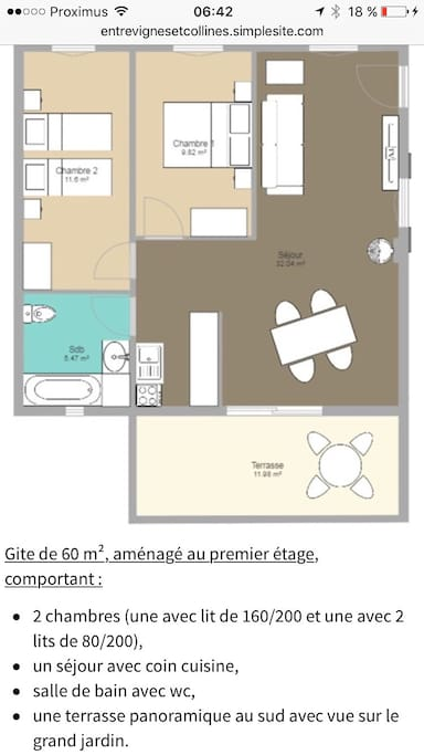 Plan de gîte de 60m²