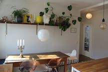 The heart of the apartment is here in the kitchen. And you get the morning light to enjoy our breakfast with