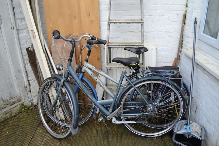 Two bike's with locks and bicycle pump.