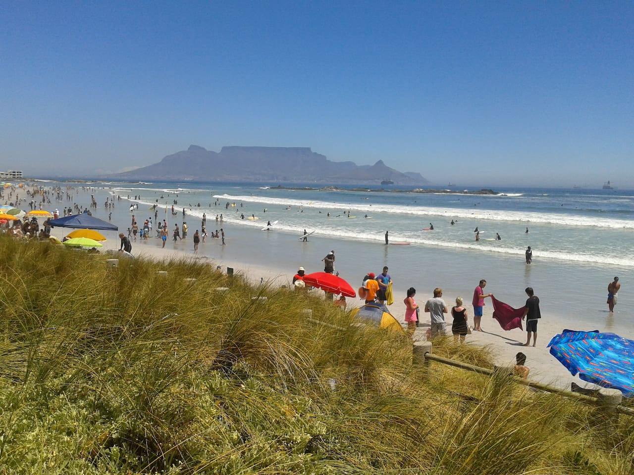 the beach with Table Mountain in the back ground