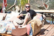 An awesome photographer James Armstrong enjoys a bubbly after a long day of surfing and camera work. Rough day James :)