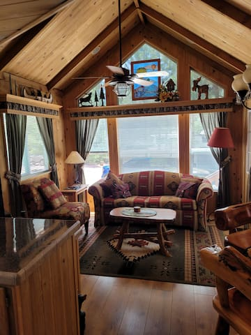 Front livingroom with double sleeper sofa, TV/Dish, vaulted ceiling open to loft with 2 twin beds, dining area and kitchen.