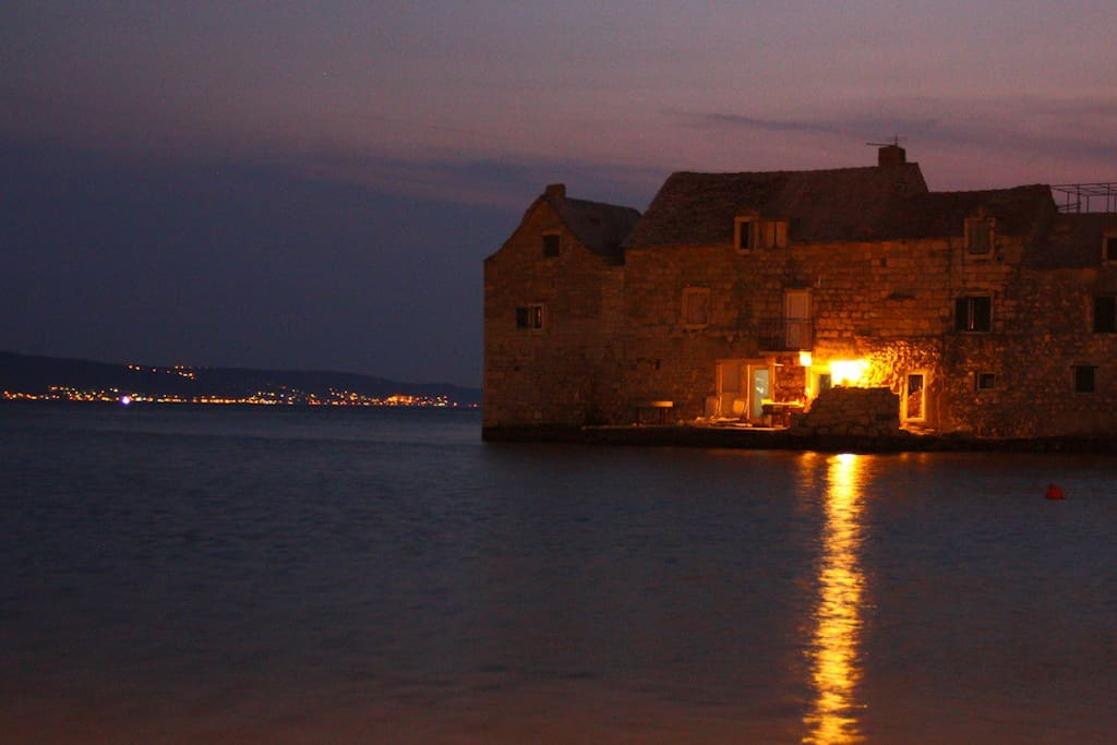 Terrace on the sea in the night