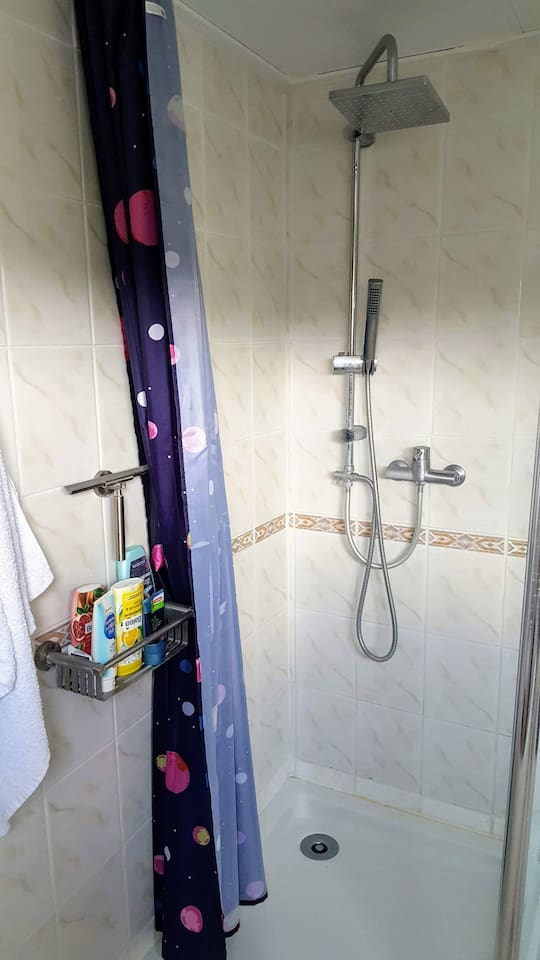 Shower with shampoo and shower cream