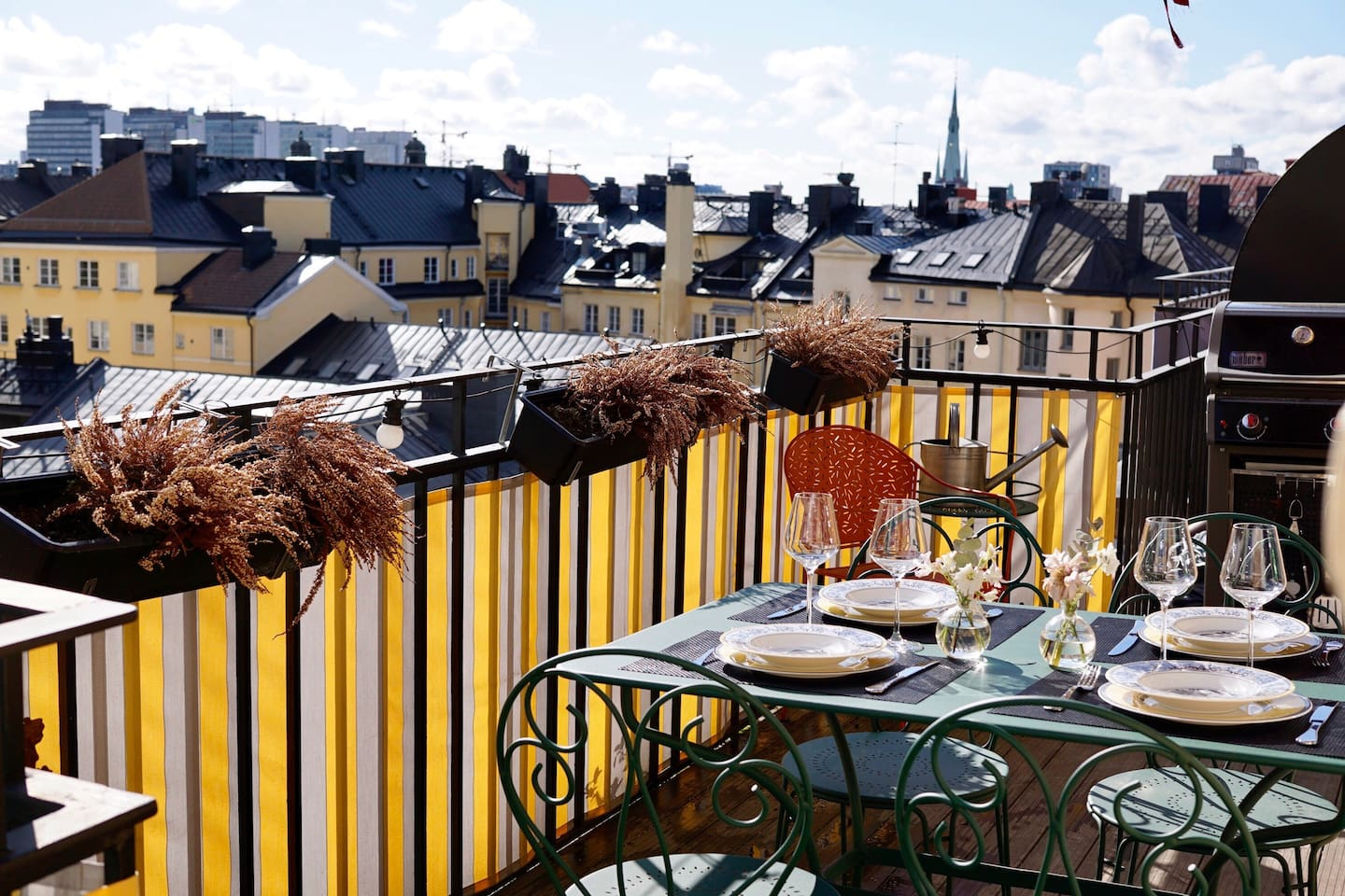 Our terrace where we enjoy breakfasts and dinners in the summer time (new flowers have been planted since this pic)