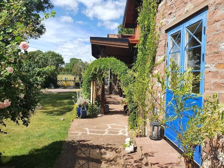 Mysigt boende i kalkstenshus nära Slottet Borgholm