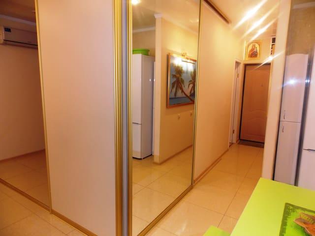 Большая зеркальная межкомнатная перегородка между кухней и спальней