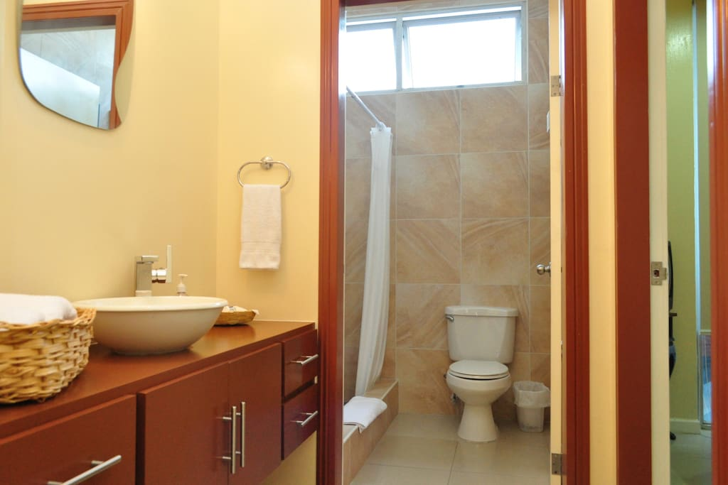 Separate vanity area from the toilet and shower room gives you flexibility when 2 people share these spaces.
