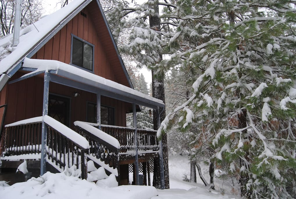 Cabin after a winter storm.