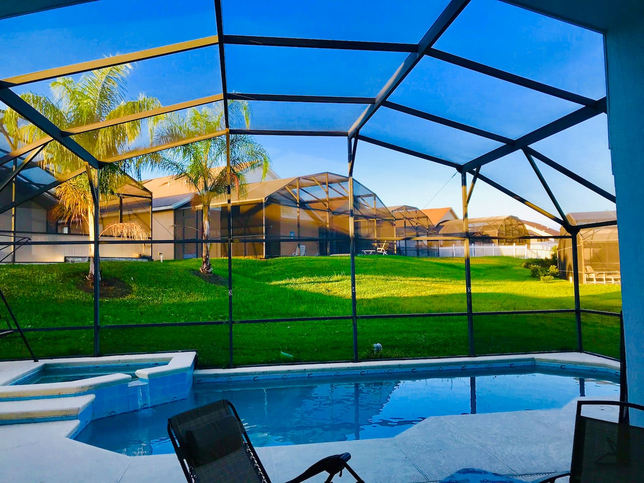 Swimming Pool, Spa and Backyard