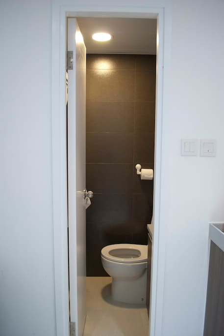 Bathroom with separate shower.