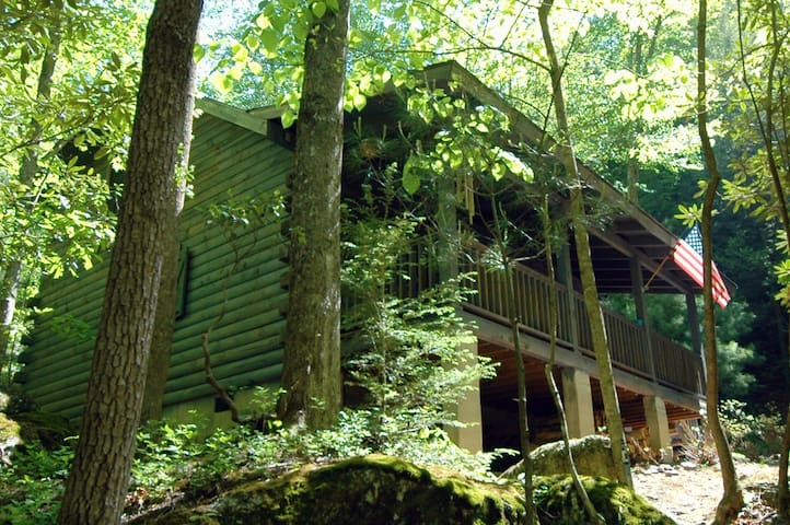 Riverfront Log Cabin w/ Waterfall - Millers Creek