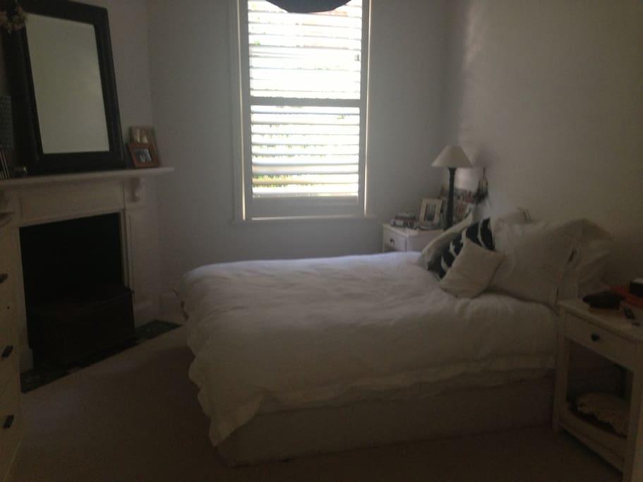 Main bedroom. Queen bed & built-in wardrobe