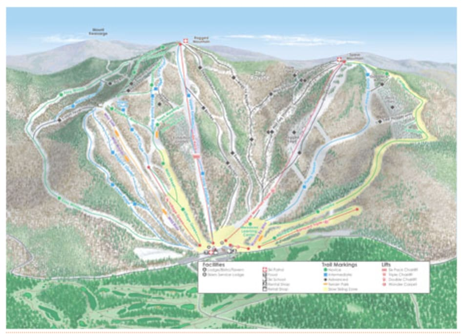 Ragged Mountain Trail Map 53 trails (30% Novice, 40% Intermediate, 30% Expert), 4 terrain parks, a wonder carpet for the kiddies and the only high speed 6 pack chairlift in New Hampshire