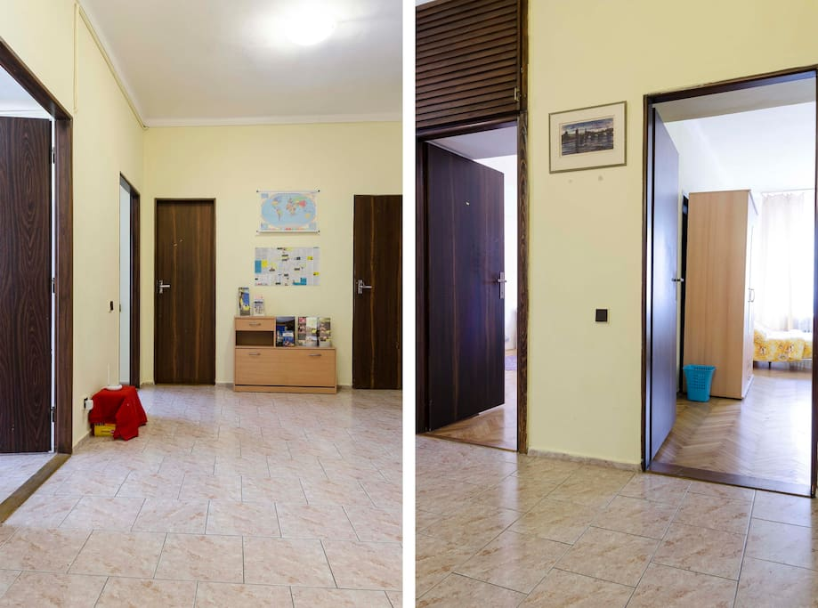 This is what it looks like when you walk in to the apartment.  The kitchen is the door on the left.  Straight ahead is the bathroom.  The picture on the right shows the entrance to the room.