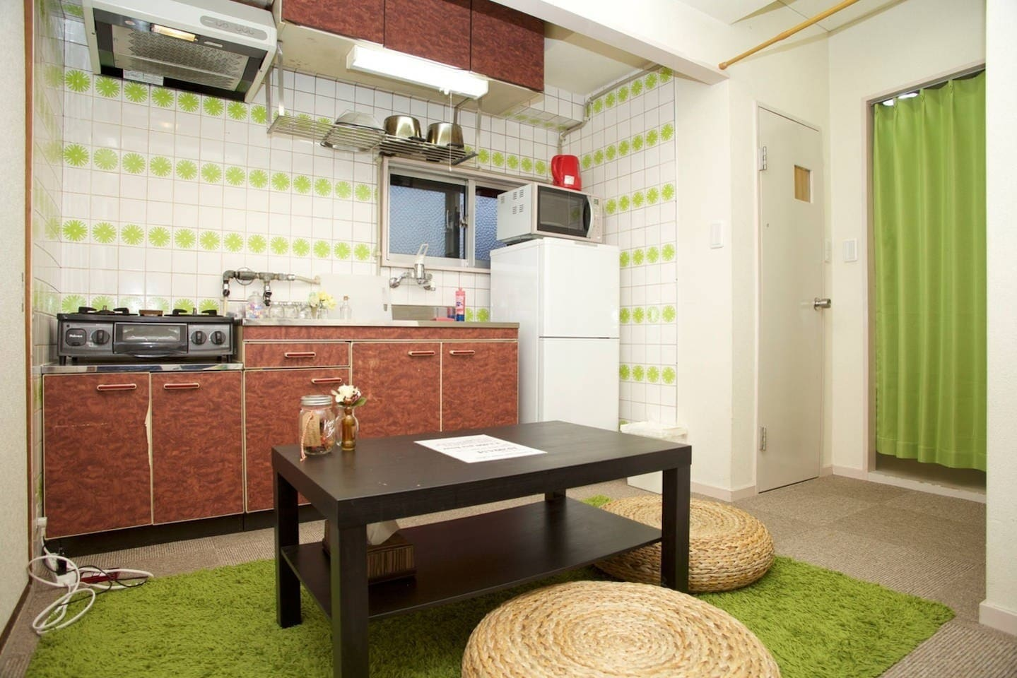 Spacious kitchen with complete equipments and utensils for your use