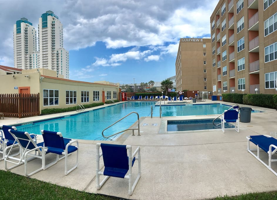 Gulfview pool with 2 hot tubs, BBQ grills, picnic areas, clubhouse, tennis courts