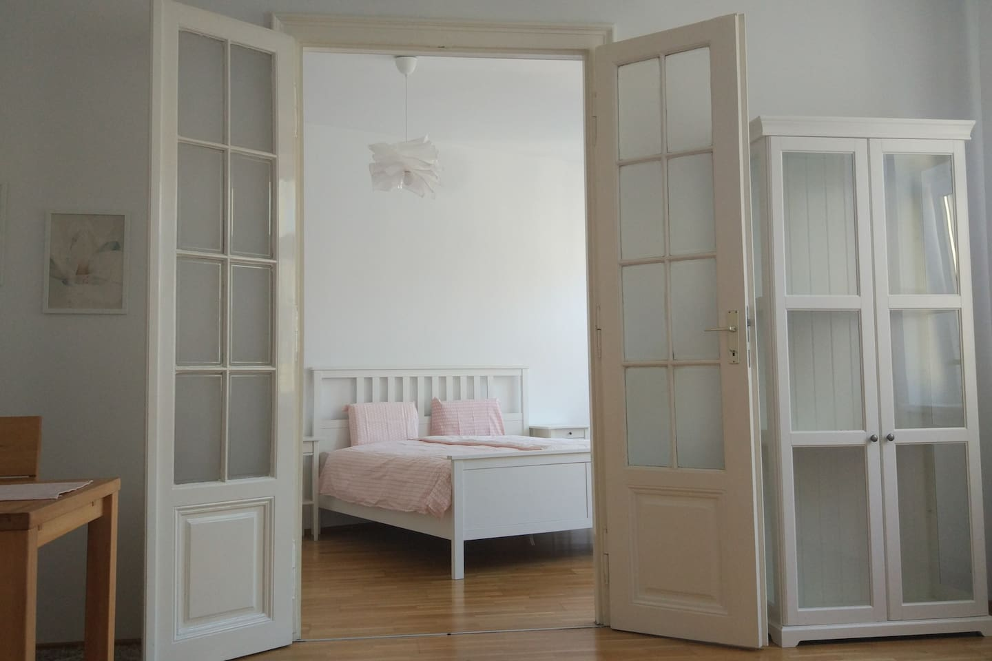 it is 2 room simple layout (view from the living room into the bedroom). Bedroom with a king size 160 x 200 CMs bed.