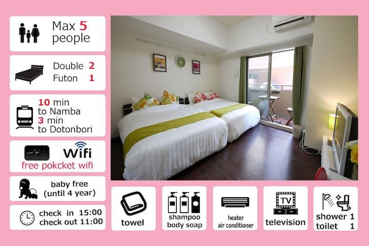 Special Discount Prise!★Dotonbori 1min★5 people ku - Ōsaka-shi - Apartament