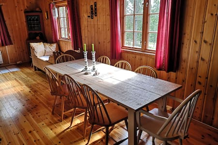 Koselig hytte med utsikt mot Olavsgruva