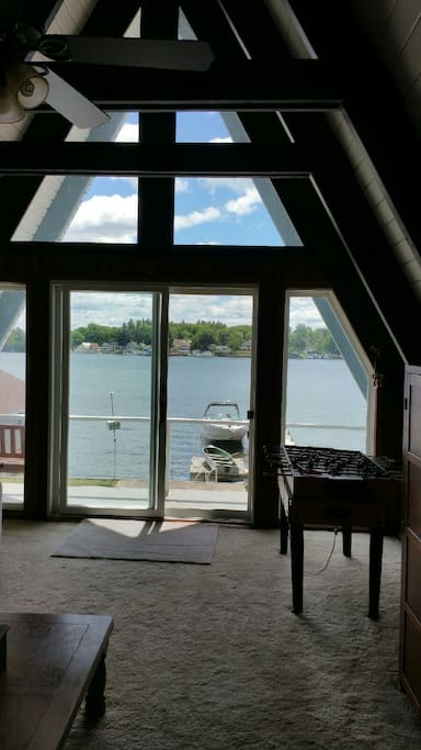 A VIEW OF THE ST. LAWRENCE RIVER FROM 2ND FLOOR GREAT ROOM.
