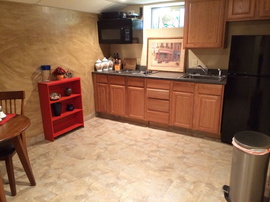 Privite kitchen full refrigerator and stove