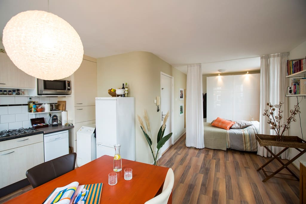 bright waterfront studio apartment flats for rent in amsterdam north holland netherlands. Black Bedroom Furniture Sets. Home Design Ideas