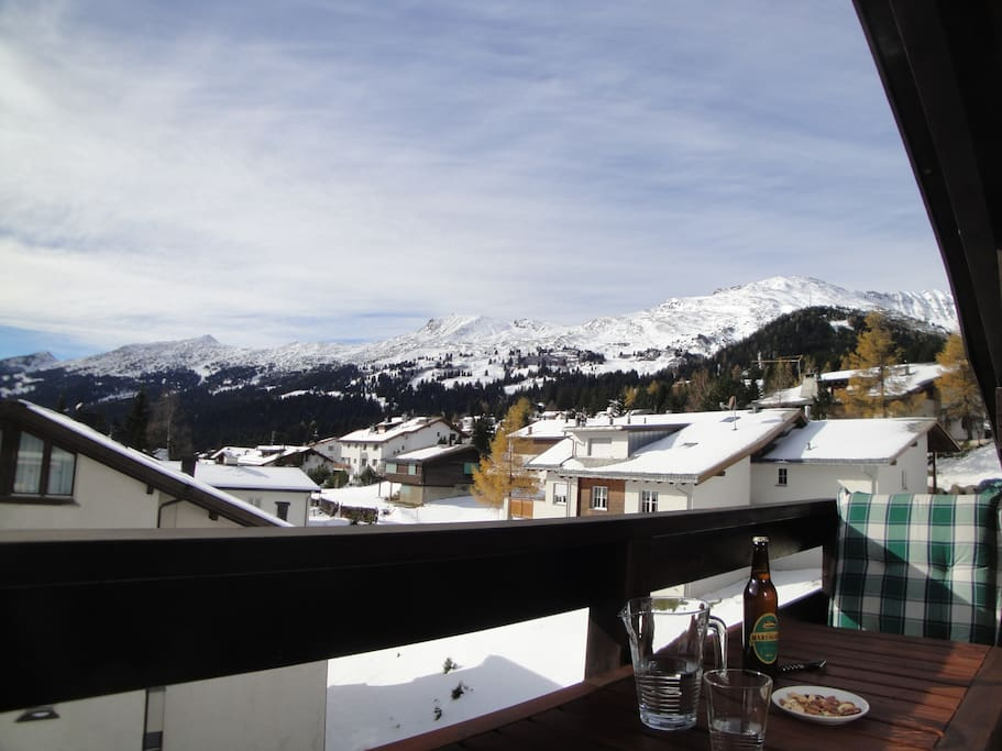 The view from our balcony. Enjoy breakfast or a cold beer after a long day's skiing while admiring the views!