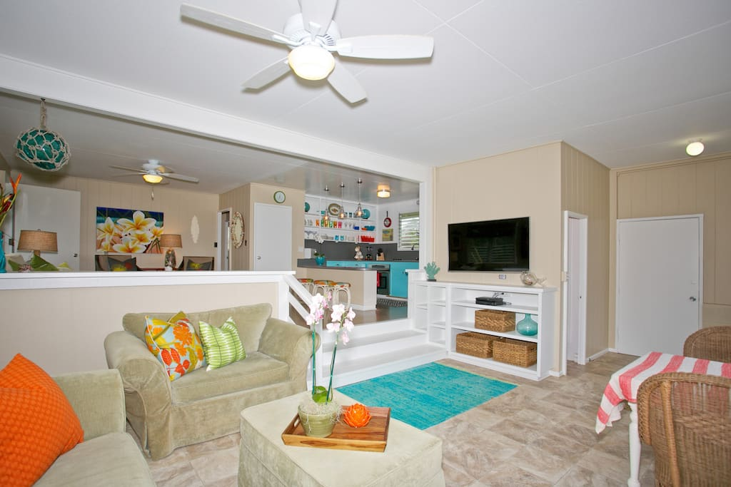 family room with large flat screen smart TV