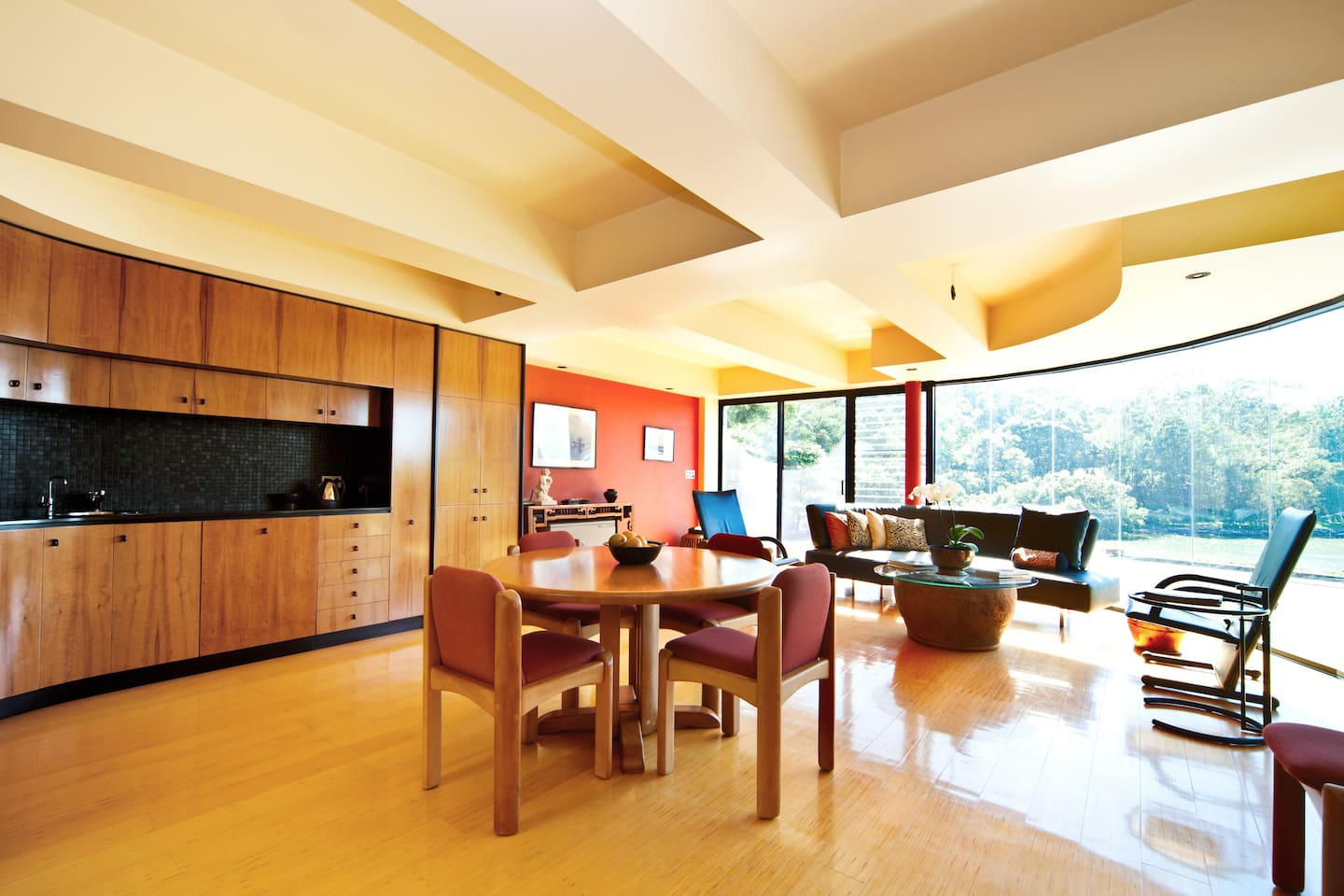 Spacious living, dining, kitchen by day