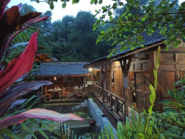 Gubuk BanyuMili: rumah panggung, kolam dan sawah.