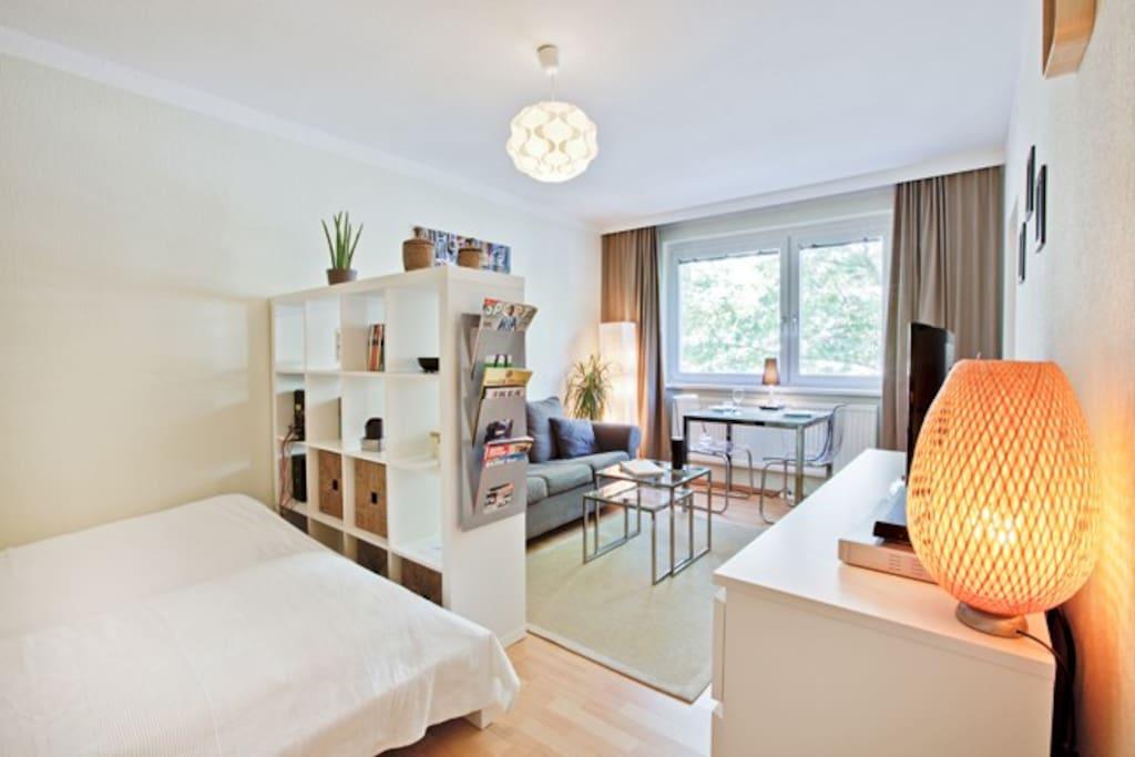 Wohn-Schlafzimmer / bed-sittingroom