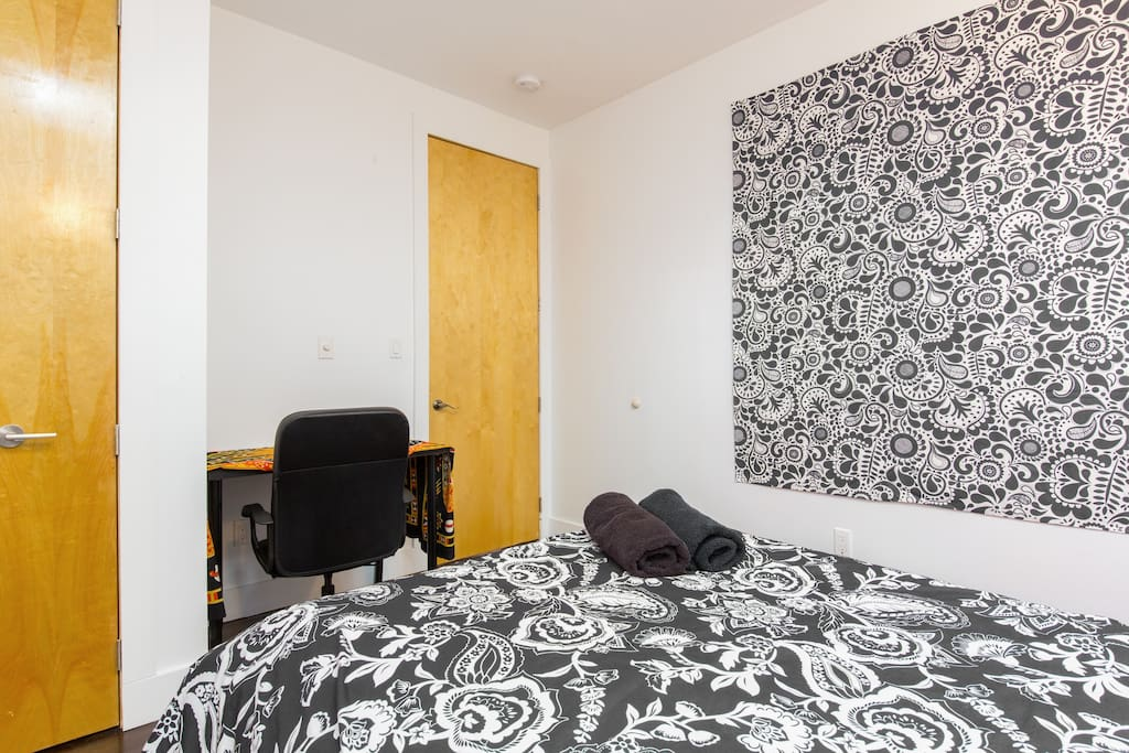 Room #5 includes: Full-sized bed, 3-drawer dresser, desk, rolling chair, closet, and skylight.