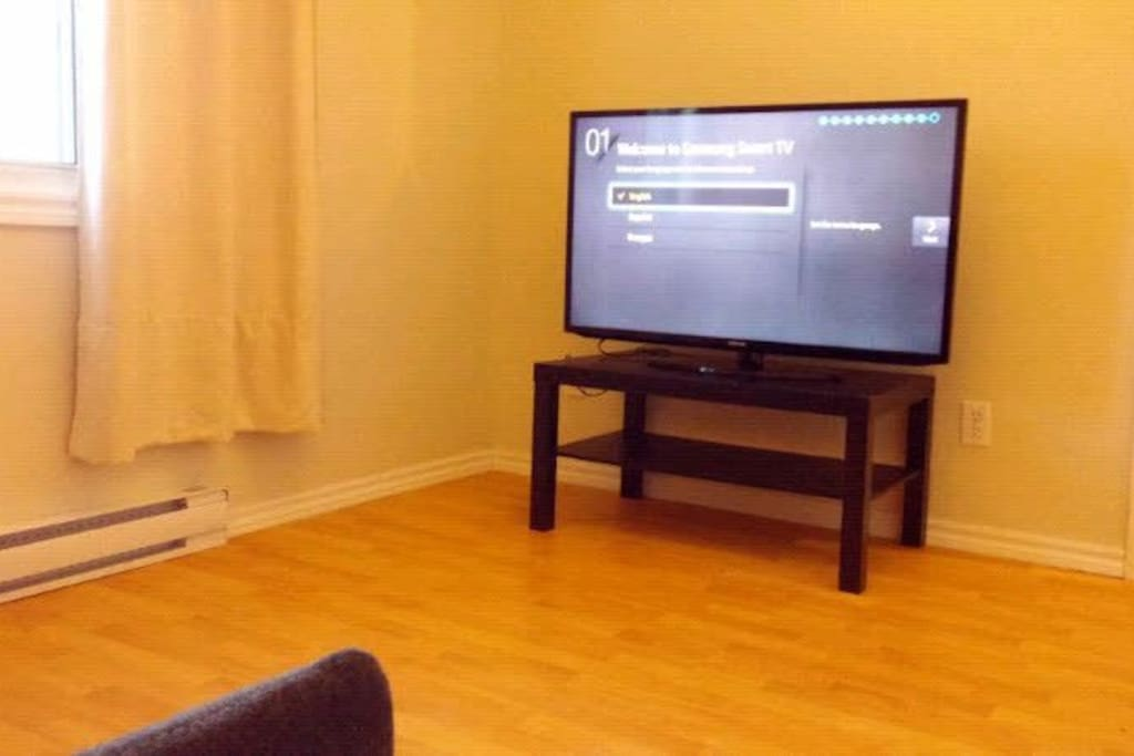 """Lovely living room with the 48"""" Samsung Smart tv. Enjoy your movie nights and tv shows !! :)"""