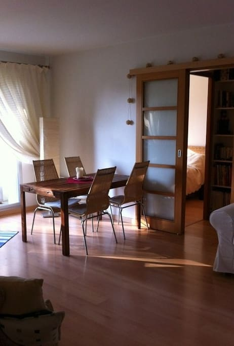Wooden table and chairs also suitable for outdoor use